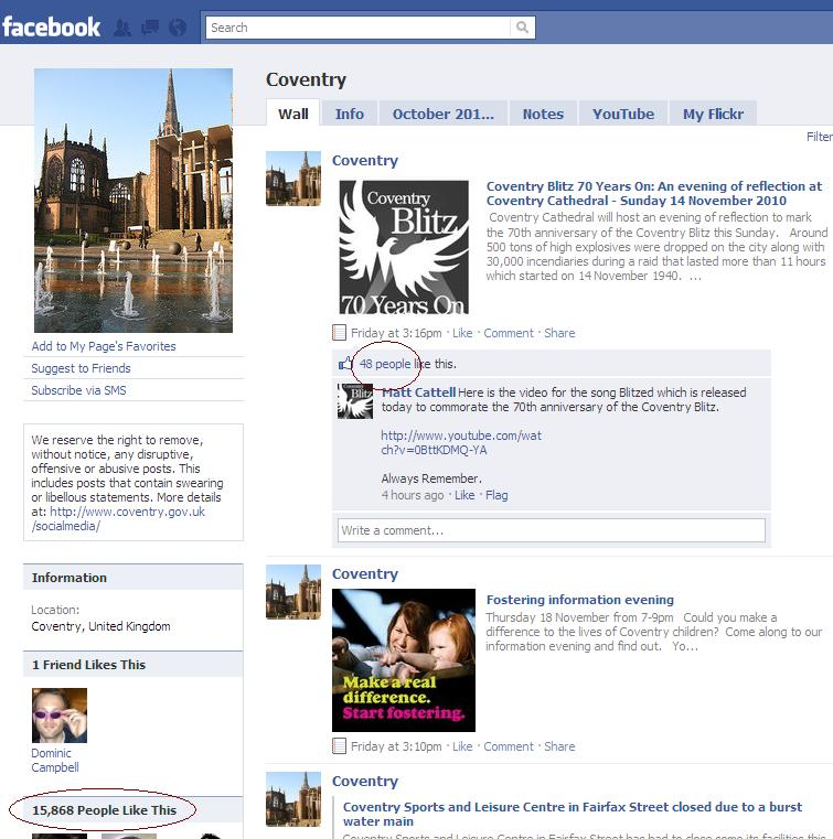Why do so many people 'Like' the Coventry Facebook page?