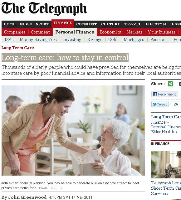 The Telegraph writes up our Independent Ageing report